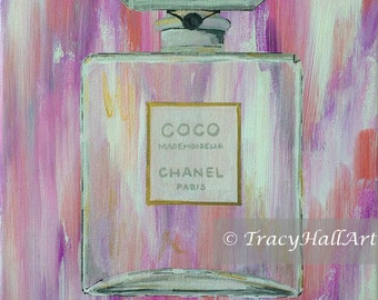 "Chanel Art Perfume Bottle Painting COCO Chanel Mademoiselle Pink Gray White Chevron Ikat Canvas 9"" x 12"""