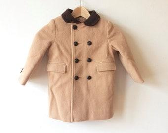 Sale! Vintage Camel Coat Girls Velvet Collar Leather Buttons Coat Girls Size 4