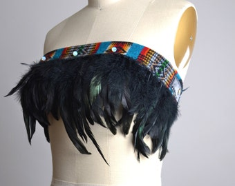 Festival Feather Top - Burning man Clothing - Native American Inspired - Hippie - Festival Fashion - Festival Clothing