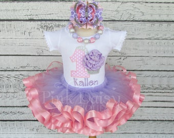 Pink and Purple Birthday Tutu Outfit - Pink Lavender - 3D Cupcake - Princess Birthday Outfit - Ribbon Tutu Set - First Birthday Dress