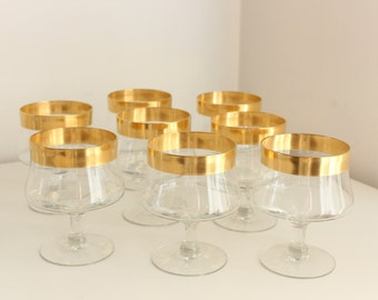 Dorothy Thorpe Glasses with Golden Band Rim, set of 8— Cocktail or Seafood Chiller Glasses with Liners