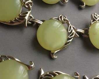 FREE shipping-50s Thermoset Earrings, Necklace Bracelet set, gold tone, light green, full set, original, layaway available, Greece