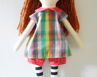 large rag doll: Clover, rosey rag doll,