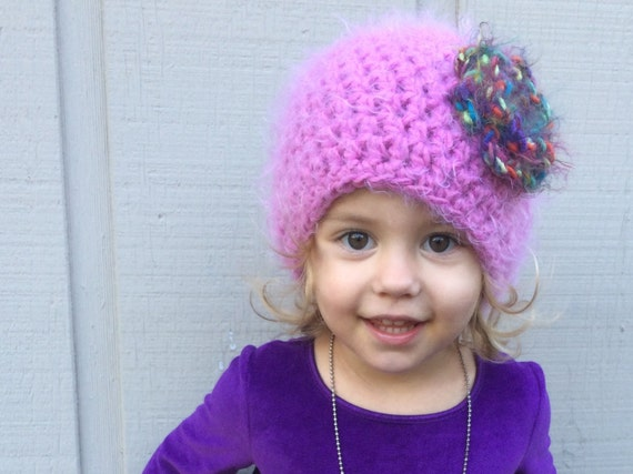 Child s Knit Hat Pattern Bulky Yarn : PATTERN: Softee Beanie chunky hat flower hat bulky yarn