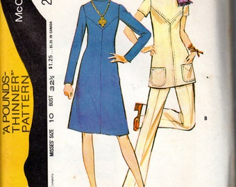 "1970s Mod Women's Dress, Tunic & Pants Pattern - Size 10, bust 32 1/2"" - McCall's 2952"