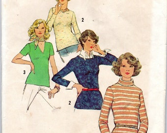 "1970s Women's Knit Top Patterns - Size 16, Bust 38"" - Simplicity 6624 uncut"
