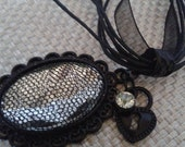 Renaissance Victorian Black Emanel Setting Clear Lace Covered Acrylic with Heart and Rhinestone Charms on a Black Ribbon and Cord Necklace