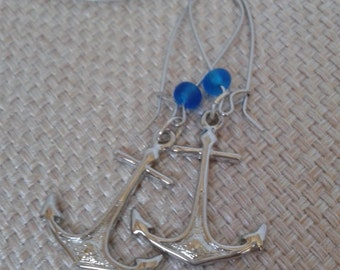 Nautical, Minimalist, Beach,  Nautical Anchor with Blue Frosted Beach Style Bead Dangle Earrings and Silver Kidney Ear Loop Jewelry