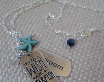 Nautical, Beach, Charm Necklace, Make a Wish Starfish, Small Starfish, Dream Tag and Small Rhinestone Charms and Silver Chain Link Jewelry