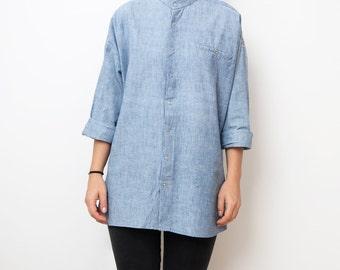 Vintage light blue denim women 80s tunic shirt