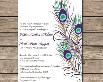 Peacock Wedding Invitation Love Marriage Feathers Printable Digital Print Paper Product