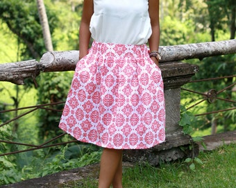 Damask Skirt in White Coral / Midi Skirt with Pockets / Elastic Waist Skirt