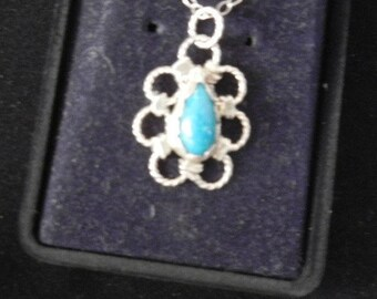 SLEEPING BEAUTY TURQUISE pendant on a 18in chain