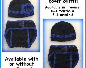 Baby outfit, crocheted hat and diaper cover, preemie, 0-3 months newborn 3-6 months black blue thin blue line, police baby, boy, girl flower