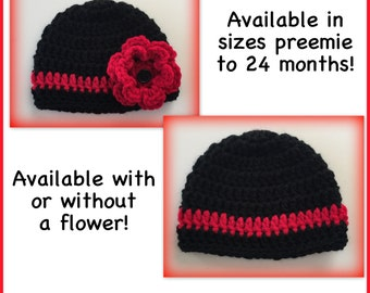 Baby hat, black and red hat, boy, girl, flower hat, thin red line, preemie, 0-3 months, newborn, 3-6 months, crocheted baby hat