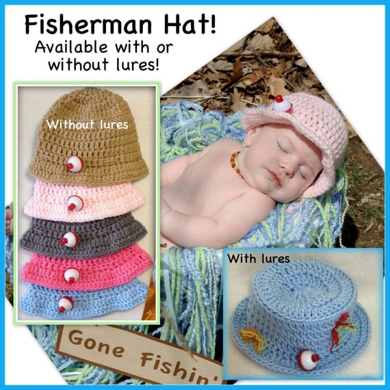 Baby fisherman hat fishing hat 0 3 months 3 6 months for Baby fishing hat