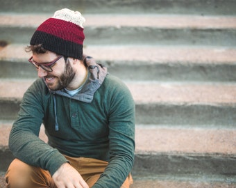 Reversible slouchy beanie, color-block stripes hipster hat