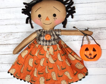 Halloween Trick or Treat Witch Annie - Primitive Raggedy Ann Doll (HAFAIR)