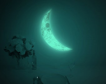 Crescent night-light wall-sticker, LUNA CRESCENT M-size (glow in the dark moon wall-sticker)