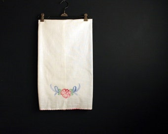 Vintage Embroidered Floral Cotton Flour Sack Dish Towel Pink and Blue