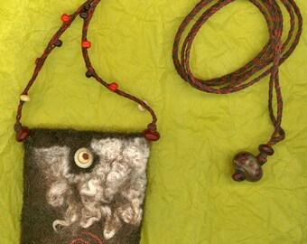 Zeme - wet felted amulet bag