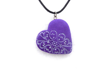 Heart Necklace, Purple Lace Polymer Clay Jewelry, Heart Pendant