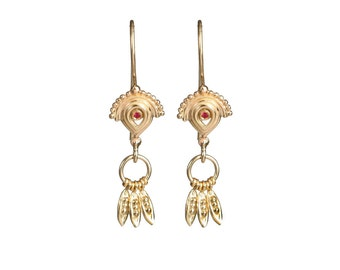 Gold earrings - 14kt gold earrings - Loela - Oriental style - dangle earrings - gold jewelry - solid gold - special jewelry