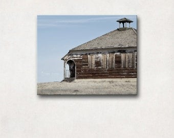 Canvas Art Gallery Wrap, Fine Art Photography, Large Landscape Wall Art, Rustic Decor, Abandoned Schoolhouse, Blue & Green