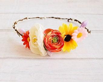 Sunflower crown...Boho Headband. Flower Girl Halo Headband..Flower Crown..Baby Headband..Rustic Wedding Headband..Flower girl headband