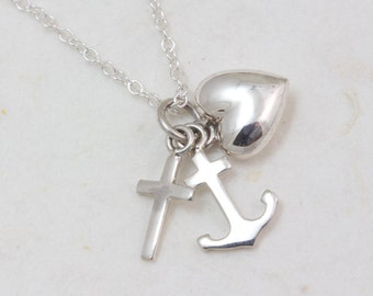 Sterling Silver cross anchor heart necklace, Faith Hope and Love necklace, Theological virtues necklace, Christian faith necklace