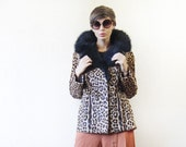 Vintage real calfskin fur leather cheetah animal print black fur collar jacket coat L
