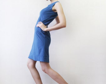 Teal blue simple fitted knee length sleeveless midi dress XS-S