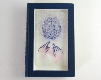 Brain Freeze - Mixed Media Altered Book Art - Ink Drawing on Japanese Paper w Crystal Growth - Chromatography Art - Original Framed Book Art