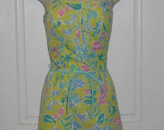 80's SEA WAVES DRESS // Mini Playsuit Beach Romper Belted Sun Dress Size 10 Yellow Floral Print Blue Green Pink