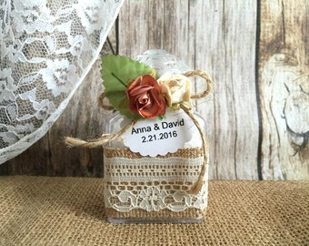 10 bath salt Wedding favors - bridal shower favors with personalized tags.