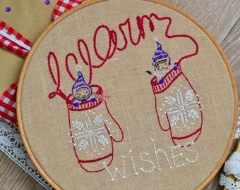 Embroidery pattern PDF, Christmas wall art, hand embroidery, Winter diy gift by NaiveNeedle