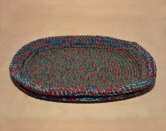 Cat Bed, Crocheted Cat Bed, Cat Pad, Red Green Blue