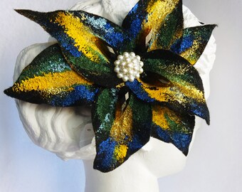 Black, Felt Flower Brooch, Flower Hair clip, Corsage, womens felt flower pin, corsages, bridal hair clip, rhinestone pin painted flower clip