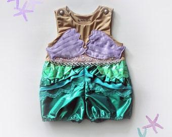 Girls Mermaid Costume Romper Shorts Ruffles Pearls Jumpsuit Handmade Unique - Ready to Ship