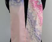 Silk scarf created with vintage kimono fabric - purple and pink chrysanthemum blossoms