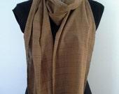 Tan-brown striped cotton scarf created with vintage kimono yukata fabric