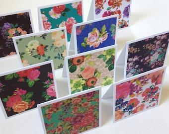 Set of 10 // 3x3 Mini Note Cards w/ Envelopes // Mini Note Cards // Mini Envelopes // Floral Note Cards // Mini Note Card Set // Mini Cards