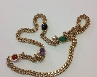Ciner Cable Chain Gold Necklace with Multi Color Stones - Designer Jewelry