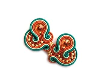 Valentines Day gift for wife - Clip on Earrings - Soutache Earrings - Gift for girlfriend - Gift for coworker - Gift for sister Gift for mom