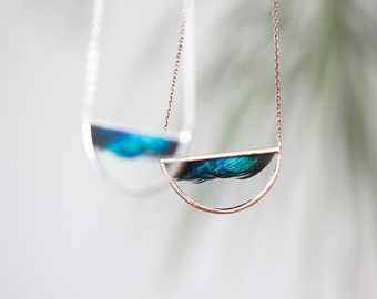 Wave . Half circle stained glass necklace with emerald peacock feather. Boho pendant. Nature inspired vibrant necklace.