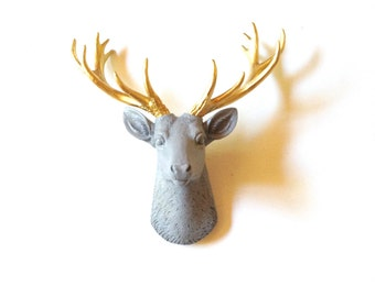 MED. GREY with Gold SMALL Faux Taxidermy Deer Head wall mount wall hanging / stag / mini / woodland decor / nursery decor office / faux deer