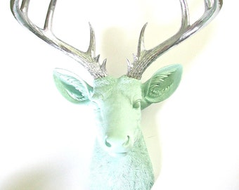 ICICLE BLUE with silver antlers :  XL Faux Taxidermy Deer Head in icicle blue with silver antlers // nursery decor // pastel // office //