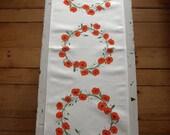 Orange Poppy Wreaths Table Runner in Shades of Green, Orange and Black