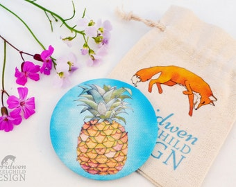Pineapple Fabric Pocket Mirror, Cosmetic Mirror, Makeup Mirror, Gifts for Women, Fabric Covered Mirror