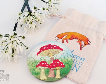 Fabric Toadstool Pocket Mirror, Cosmetic Mirror, Makeup Mirror, Gifts for Women, Fabric Covered Mirror